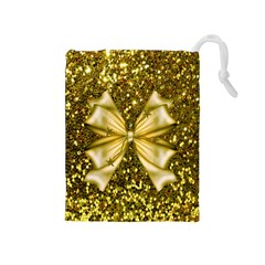 Golden Sequins And Bow Drawstring Pouch (medium)