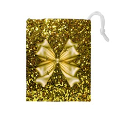 Golden sequins and bow Drawstring Pouch (Large)