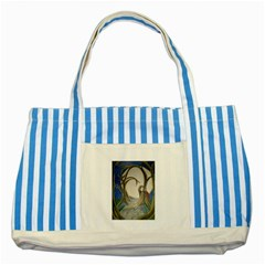 Beware Of Strangers (2) Blue Striped Tote Bag