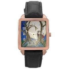 Beware Of Strangers (2) Rose Gold Leather Watch