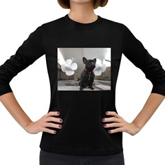 French Bulldog With Boat  Women s Long Sleeve T-shirt (Dark Colored)