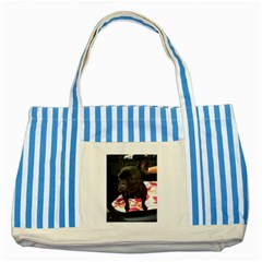 French Bulldog Sitting Blue Striped Tote Bag