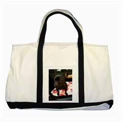 French Bulldog Sitting Two Toned Tote Bag
