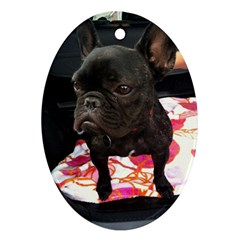 French Bulldog Sitting Oval Ornament (two Sides)