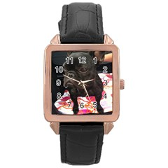 French Bulldog Sitting Rose Gold Leather Watch