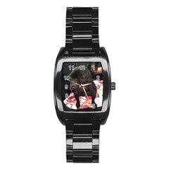 French Bulldog Sitting Stainless Steel Barrel Watch