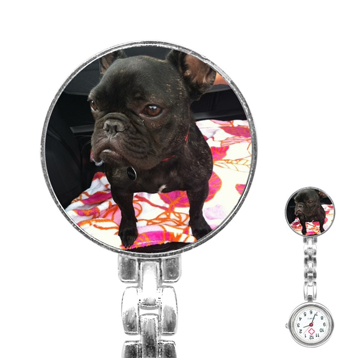 French Bulldog Sitting Stainless Steel Nurses Watch