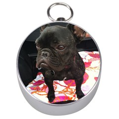 French Bulldog Sitting Silver Compass