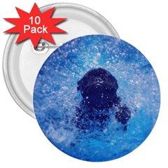 French Bulldog Swimming 3  Button (10 Pack)