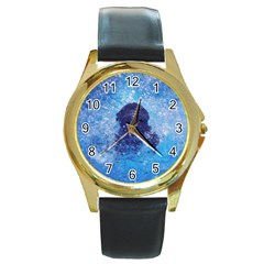 French Bulldog Swimming Round Leather Watch (Gold Rim)