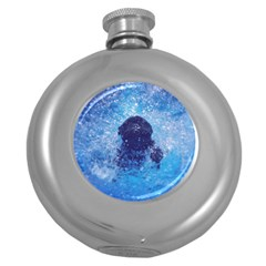 French Bulldog Swimming Hip Flask (round)