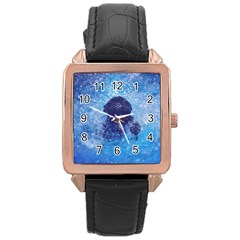 French Bulldog Swimming Rose Gold Leather Watch