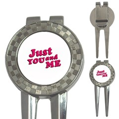 Just You and Me Typographic Statement Design Golf Pitchfork & Ball Marker