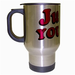Just You and Me Typographic Statement Design Travel Mug (Silver Gray)