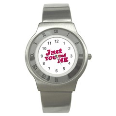 Just You And Me Typographic Statement Design Stainless Steel Watch (slim)