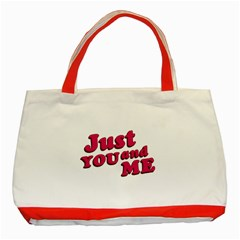 Just You And Me Typographic Statement Design Classic Tote Bag (red)