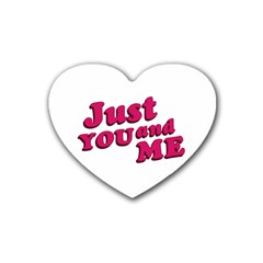 Just You And Me Typographic Statement Design Drink Coasters 4 Pack (heart)