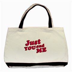 Just You and Me Typographic Statement Design Twin-sided Black Tote Bag