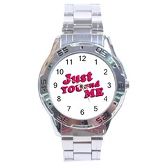 Just You And Me Typographic Statement Design Stainless Steel Watch