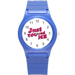 Just You And Me Typographic Statement Design Plastic Sport Watch (small)
