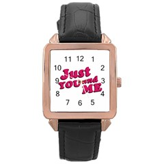 Just You And Me Typographic Statement Design Rose Gold Leather Watch