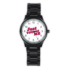 Just You and Me Typographic Statement Design Sport Metal Watch (Black)