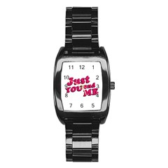 Just You and Me Typographic Statement Design Stainless Steel Barrel Watch