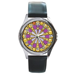 Circle Of Emotions Round Leather Watch (silver Rim)