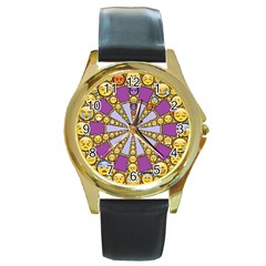 Circle Of Emotions Round Leather Watch (gold Rim)