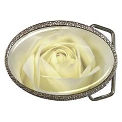 Cream Rose Belt Buckle (Oval)