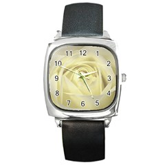 Cream Rose Square Leather Watch