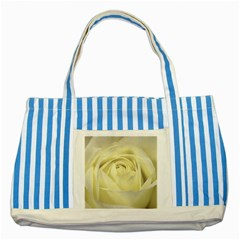 Cream Rose Blue Striped Tote Bag