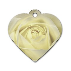 Cream Rose Dog Tag Heart (two Sided)