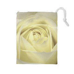 Cream Rose Drawstring Pouch (Large)