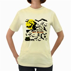 Happy Halloween Collage Women s T-shirt (Yellow)