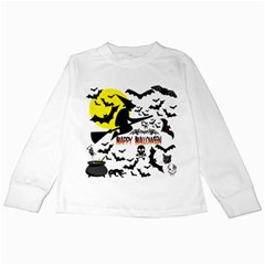Happy Halloween Collage Kids Long Sleeve T-Shirt