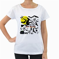 Happy Halloween Collage Women s Loose-Fit T-Shirt (White)