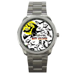 Happy Halloween Collage Sport Metal Watch