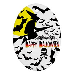 Happy Halloween Collage Oval Ornament (two Sides)