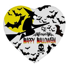 Happy Halloween Collage Heart Ornament (two Sides)