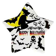 Happy Halloween Collage Star Ornament (two Sides)