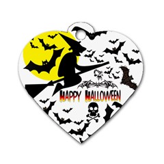 Happy Halloween Collage Dog Tag Heart (one Sided)