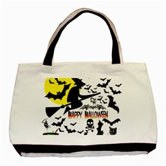 Happy Halloween Collage Twin-sided Black Tote Bag