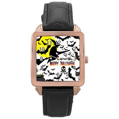 Happy Halloween Collage Rose Gold Leather Watch