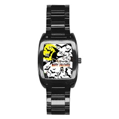 Happy Halloween Collage Stainless Steel Barrel Watch