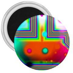 Crossroads Of Awakening, Abstract Rainbow Doorway  3  Button Magnet