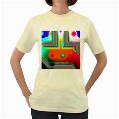 Crossroads Of Awakening, Abstract Rainbow Doorway  Women s T-shirt (Yellow)