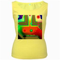 Crossroads Of Awakening, Abstract Rainbow Doorway  Women s Tank Top (Yellow)