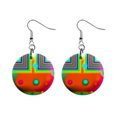 Crossroads Of Awakening, Abstract Rainbow Doorway  Mini Button Earrings