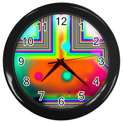 Crossroads Of Awakening, Abstract Rainbow Doorway  Wall Clock (Black)